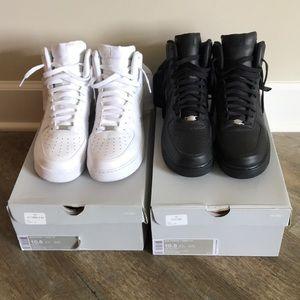 Nike AF1 High White/Black Set Mens Sz 10.5